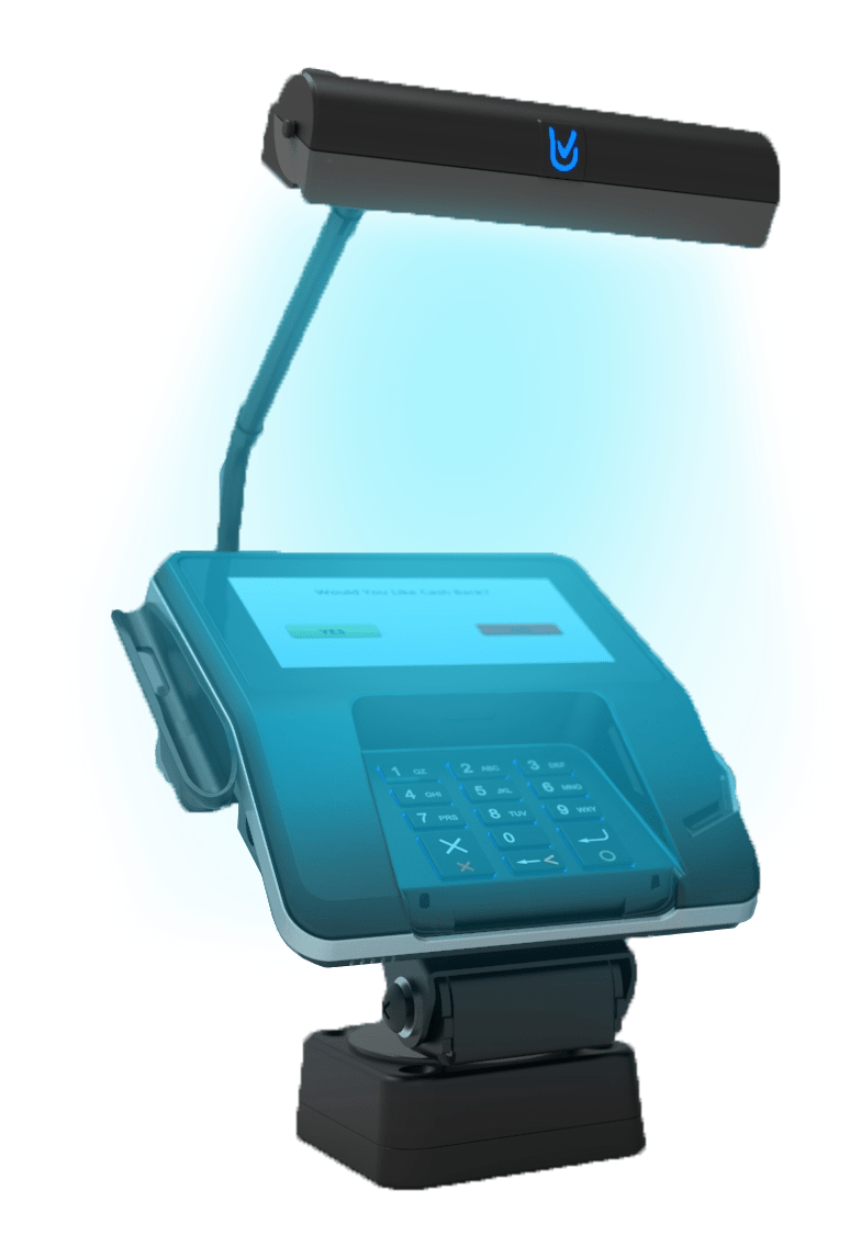 UV-Clean light on payment terminal